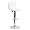 Adjustable Height Barstool - Faux Leather, White