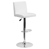 Adjustable Height Barstool - White, Faux Leather