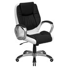 Leather Executive Swivel Office Chair - Mid Back, Black and White