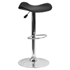 Backless Barstool - Adjustable Height, Faux Leather, Black