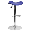 Backless Barstool - Adjustable Height, Faux Leather, Blue