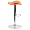 Backless Barstool - Adjustable Height, Faux Leather, Orange - FLSH-CH-TC3-1002-ORG-GG