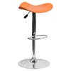 Backless Barstool - Adjustable Height, Faux Leather, Orange