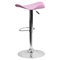 Backless Barstool - Adjustable Height, Faux Leather, Pink - FLSH-CH-TC3-1002-PK-GG