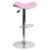 Backless Barstool - Adjustable Height, Faux Leather, Pink
