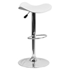 Backless Barstool - Adjustable Height, Faux Leather, White