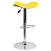 Backless Barstool - Adjustable Height, Faux Leather, Yellow