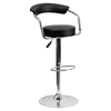 Adjustable Height Barstool - Armrests, Black, Faux Leather