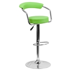 Adjustable Height Barstool - Armrests, Green, Faux Leather
