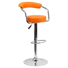 Adjustable Height Barstool - Armrests, Orange, Faux Leather