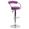 Adjustable Height Barstool - Armrests, Purple, Faux Leather