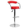 Adjustable Height Barstool - Armrests, Red, Faux Leather