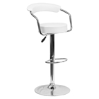 Adjustable Height Barstool - Armrests, White, Faux Leather