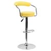 Adjustable Height Barstool - Armrests, Yellow, Faux Leather