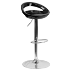Plastic Adjustable Height Barstool - Backless, Black