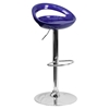 Plastic Adjustable Height Barstool - Backless, Blue