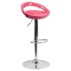 Plastic Adjustable Height Barstool - Backless, Pink
