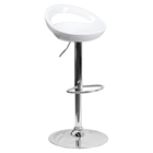 Plastic Adjustable Height Barstool - Backless, White