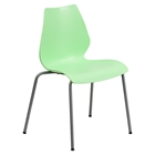 Hercules Series Stack Chair - Lumbar Support, Silver Frame, Green