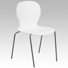 Hercules Series Stack Chair - White, Silver Frame