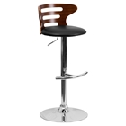Adjustable Height Barstool - Black Seat, Walnut Bentwood, Cutout Back