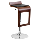 Adjustable Height Barstool - Black Seat, Walnut Bentwood, Drop Frame