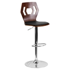 Adjustable Height Barstool - Walnut Bentwood, Black Seat, Cutout Back