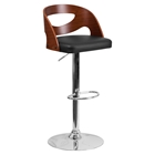 Adjustable Height Barstool - Cutout Back, Walnut Bentwood, Black Seat