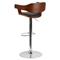 Adjustable Height Barstool - Walnut Bentwood, Black Upholstery - FLSH-SD-2179-WAL-GG