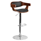 Adjustable Height Barstool - Walnut Bentwood, Black Upholstery