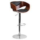 Adjustable Height Barstool - Black Upholstery, Walnut