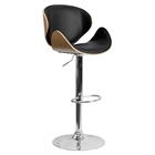 Adjustable Height Barstool - Curved Black Seat and Back