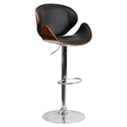 Adjustable Height Barstool - Curved Black, Walnut Bentwood