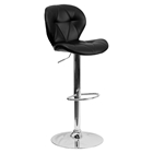 Tufted Barstool - Adjustable Height, Chrome Base, Black