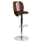 Adjustable Height Barstool - Black, Walnut - FLSH-SD-2220-WAL-GG