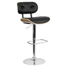 Beech Bentwood Barstool - Button Tufted, Adjustable Height, Black