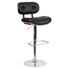 Adjustable Height Barstool - Button Tufted, Black, Walnut