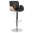 Bentwood Adjustable Height Barstool - Curved Black Seat, Beech