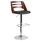 Bentwood Adjustable Height Barstool - Black Seat, Cutout Back, Walnut