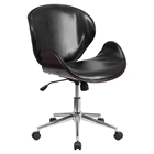 Mid Back Conference Chair - Black Leather, Mahogany, Swivel