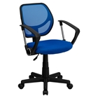 Swivel Task Chair - Low Back, Arms, Blue