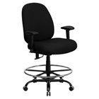 Hercules Series Big and Tall Drafting Chair - Black, Height Adjustable Arms