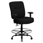 Hercules Series Big and Tall Drafting Chair - Adjustable Arms, Black