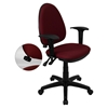 Mid Back Task Chair - Multi Functional, Height Adjustable Arms, Burgundy
