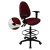 Mid Back Drafting Chair - Multi Functional, Adjustable Arms, Burgundy