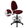 Mid Back Drafting Chair - Multi Functional, Burgundy