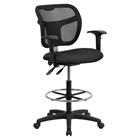 Mid Back Mesh Drafting Chair - Height Adjustable Arms, Black