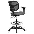 Mid Back Mesh Drafting Chair - Height Adjustable Arms, Gray