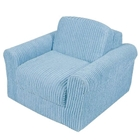 Kids Chair Sleeper in Blue Chenille