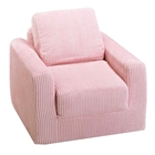 Kids Chair Sleeper in Pink Chenille